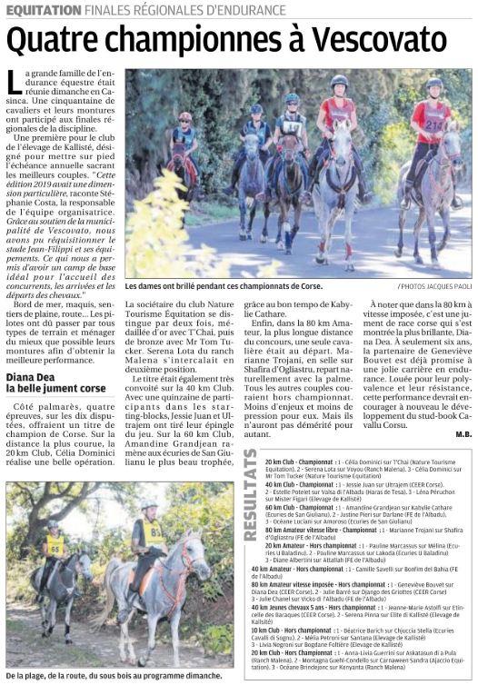 Championnat Régional d'Endurance - 29 septembre 2019 - élevage di Kalliste