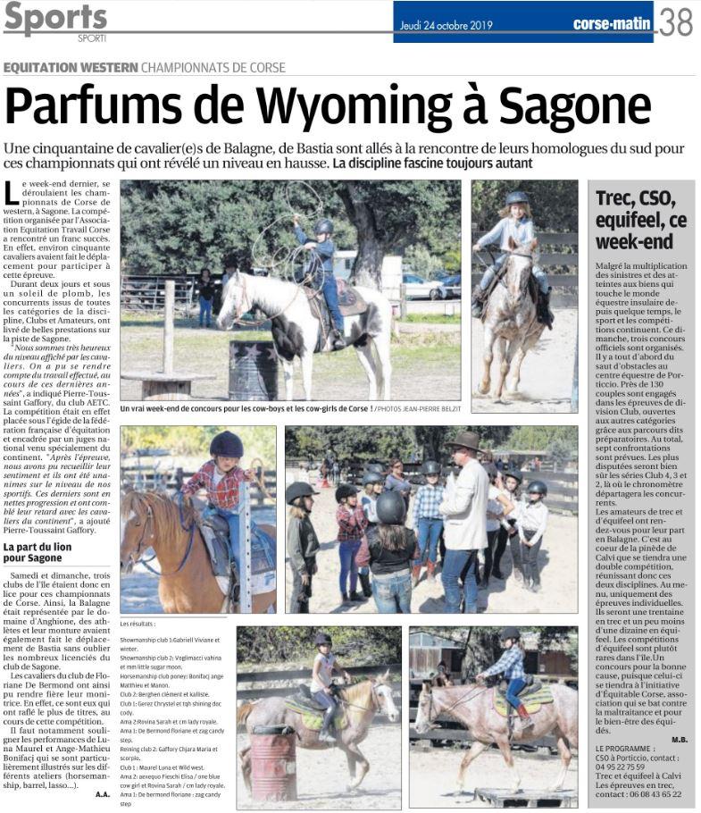 Championnat Régional d'équitation Western - 19 et 20 octobre 2019 - Sagone