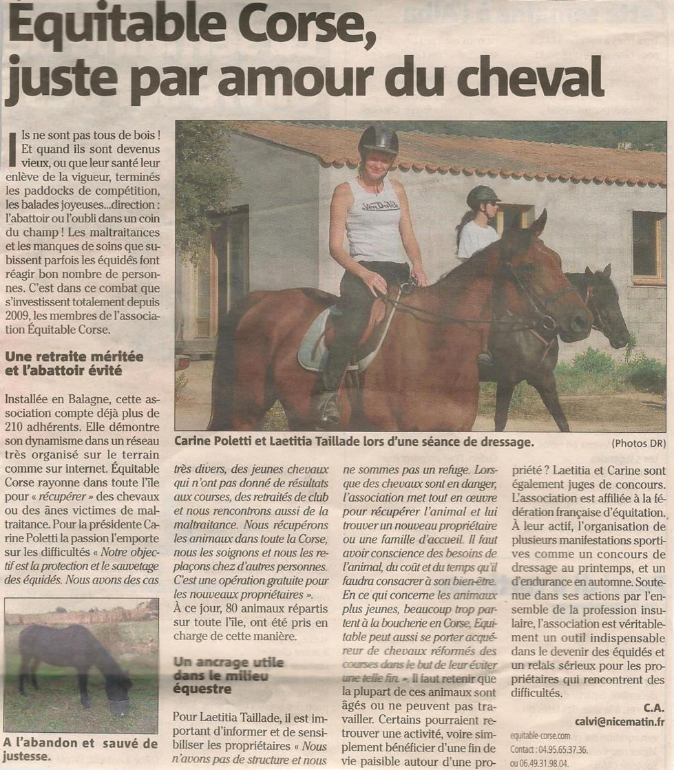 Equitable Corse, par amour du cheval.