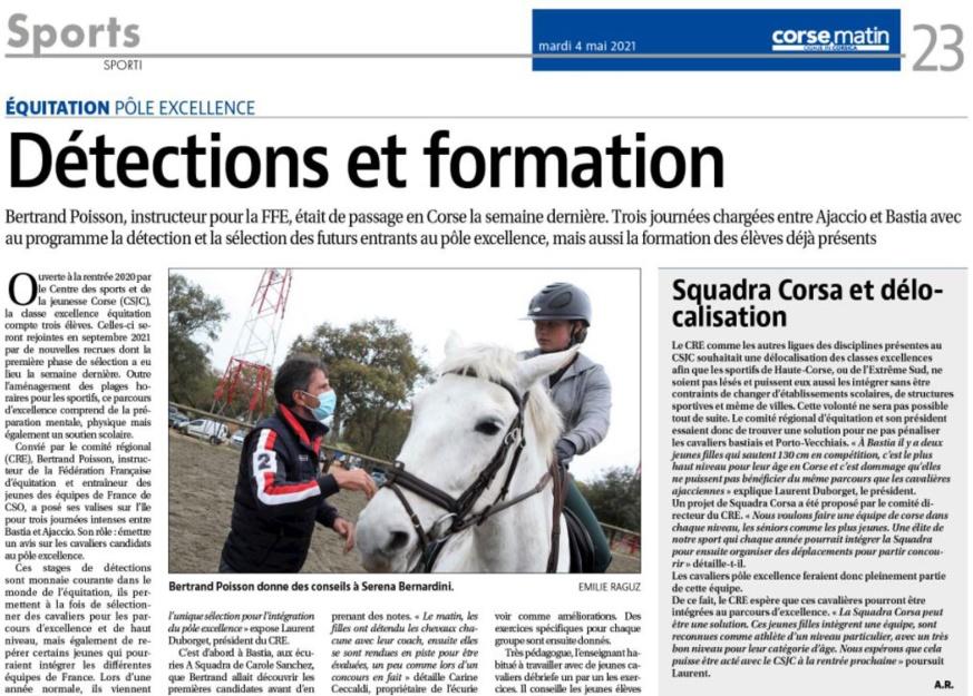 Article Corse Matin du 04 mai 2021