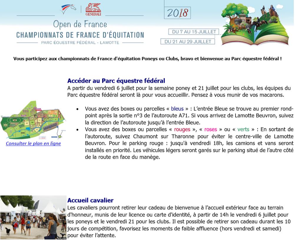 Accueil des Championnats à Lamotte Beuvron