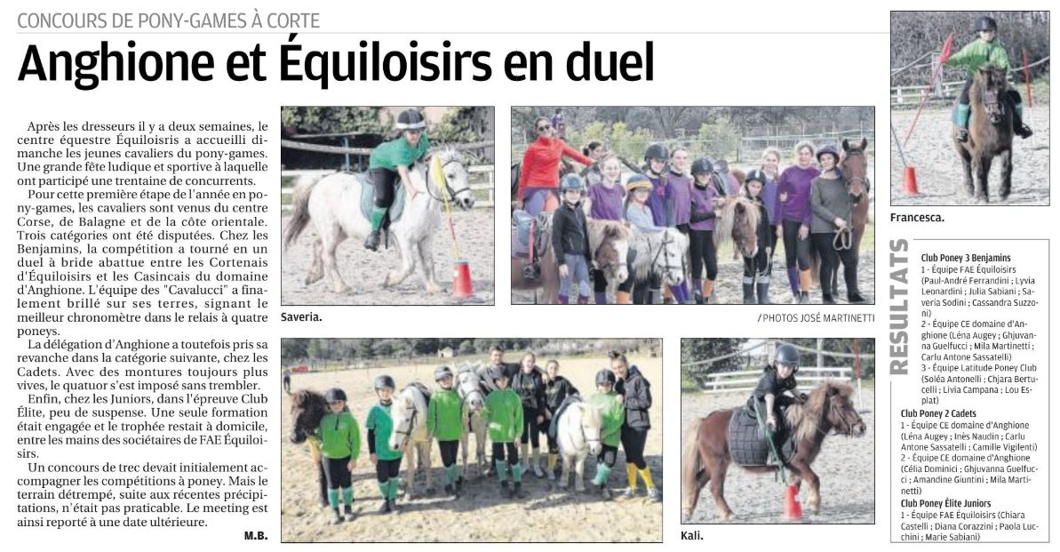 Pony-Games - 2 février 2020 - Equiloisirs FAE - Corte