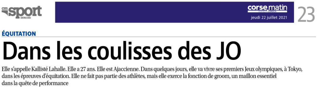 Article Corse Matin du 22 juillet 2021